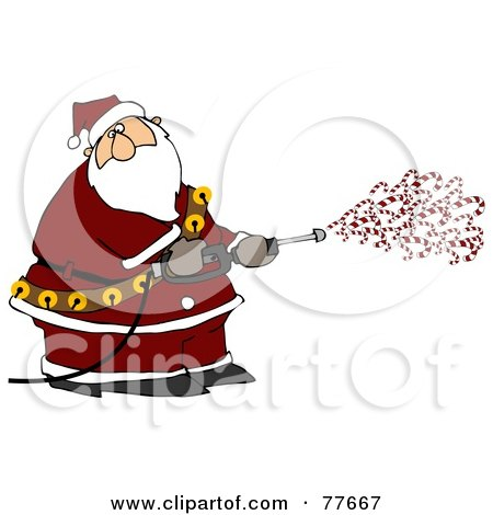 Royalty-Free (RF) Clipart Illustration of Kris Kringle Spraying Candy Canes Out Of A Pressure Washer by djart