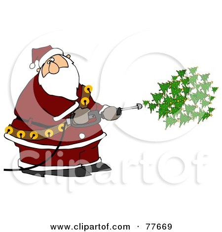 Royalty-Free (RF) Clipart Illustration of Kris Kringle Spraying Christmas Trees Out Of A Pressure Washer by djart