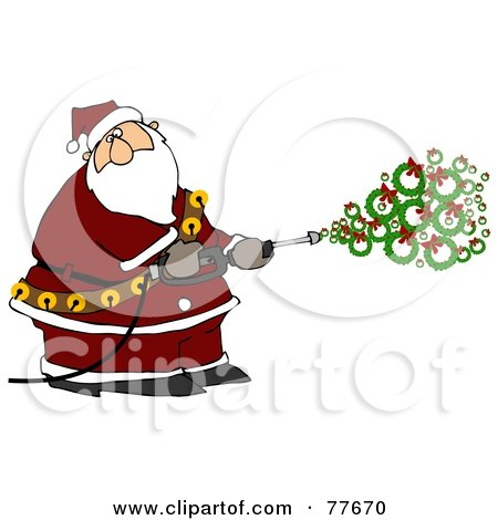 Royalty-Free (RF) Clipart Illustration of Kris Kringle Spraying Wreaths Out Of A Pressure Washer by djart