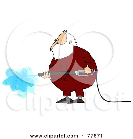 Royalty-Free (RF) Clipart Illustration of Kris Kringle Wearing Pajamas And Operating A Pressure Washer by djart