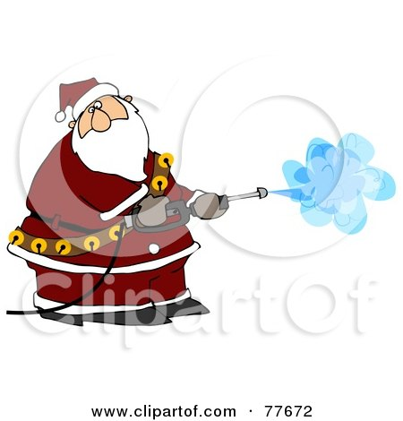 Royalty-Free (RF) Clipart Illustration of Kris Kringle Operating A Pressure Washer by djart