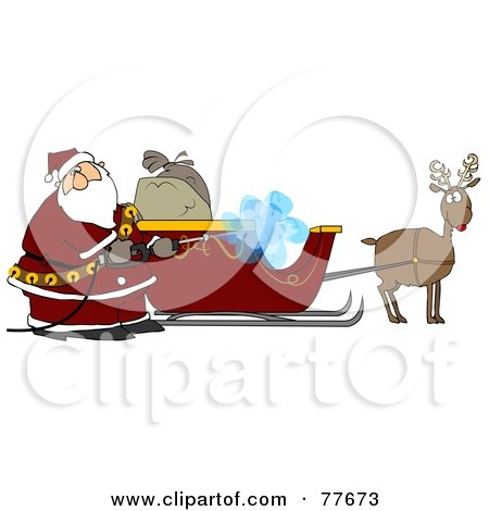 Royalty-Free (RF) Clipart Illustration of Santa Pressure Washing His Sleigh For Christmas Eve by djart