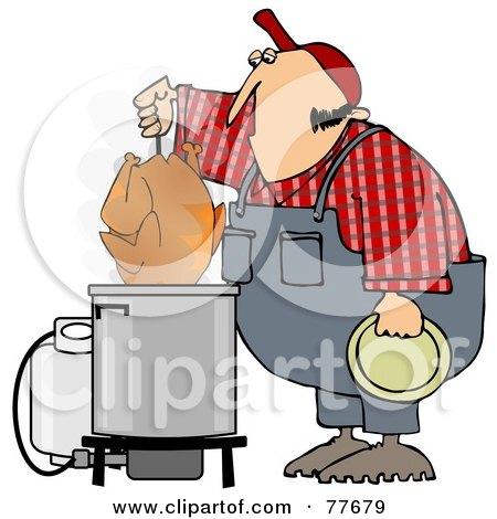 Royalty-Free (RF) Clipart Illustration of a Hillbilly Deep Frying A Turkey by djart
