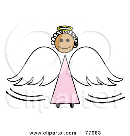 Royalty-Free (RF) Clipart Illustration of a Black Stick Angel Girl With A Halo And Wings by Pams Clipart
