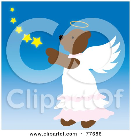 Royalty-Free (RF) Clipart Illustration of a Brown Angel Bear In The Sky With Stars by Pams Clipart