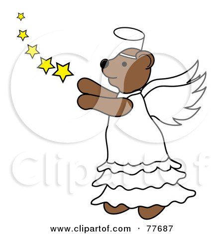 Royalty-Free (RF) Clipart Illustration of a Brown Angel Bear With Stars by Pams Clipart