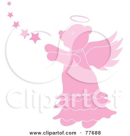 Royalty-Free (RF) Clipart Illustration of a Pink Angel Bear With Stars by Pams Clipart