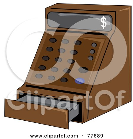 Royalty-Free (RF) Clipart Illustration of a Brown Cash Register In A Store by Pams Clipart