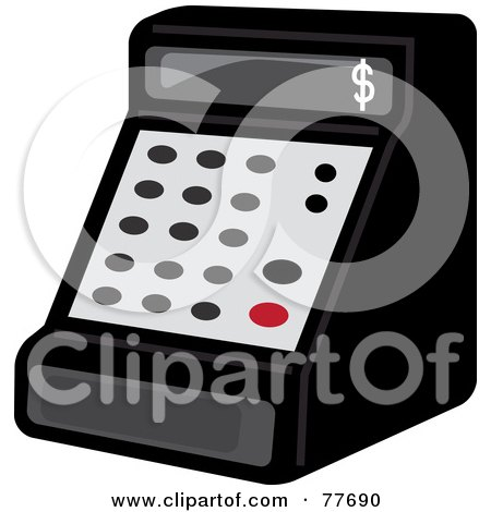 Royalty-Free (RF) Clipart Illustration of a Black Cash Register In A Store by Pams Clipart