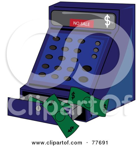 Royalty-Free (RF) Clipart Illustration of a Blue Cash Register With Cash by Pams Clipart