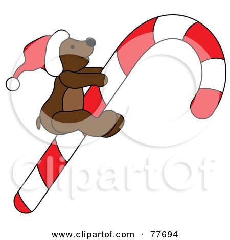 Royalty-Free (RF) Clipart Illustration of a Christmas Teddy Bear Riding A Candy Cane by Pams Clipart