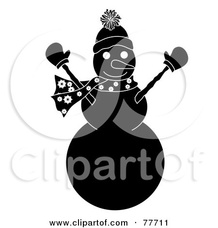 Royalty-Free (RF) Clipart Illustration of a Black And White Snowman Holding His Arms Up by Pams Clipart