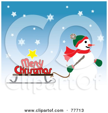 Royalty-Free (RF) Clipart Illustration of a Snowman Pulling A Merry Christmas Greeting On A Sled by Pams Clipart