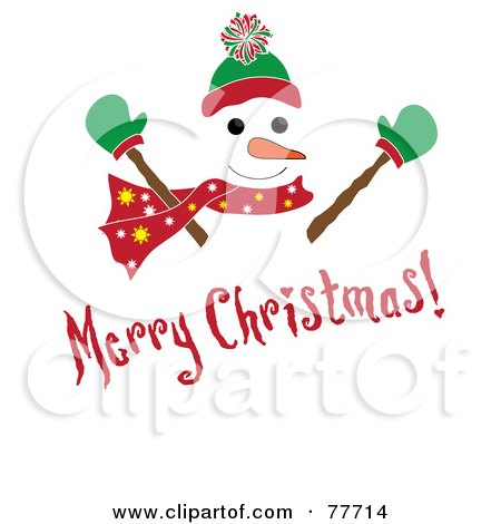 Royalty-Free (RF) Clipart Illustration of a Red Merry Christmas Greeting Over A Snowman by Pams Clipart