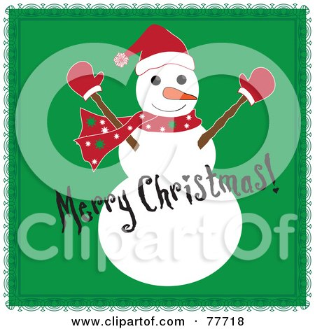 Royalty-Free (RF) Clipart Illustration of a Black Merry Christmas Greeting Over A Snowman On Green by Pams Clipart