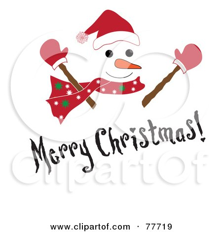 Royalty-Free (RF) Clipart Illustration of a Black Merry Christmas Greeting Over A Snowman by Pams Clipart
