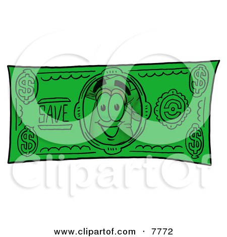 Clipart Picture of a Chefs Hat Mascot Cartoon Character on a Dollar Bill by Toons4Biz