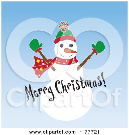 Royalty-Free (RF) Clipart Illustration of a Merry Christmas Greeting Over A Snowman On Blue by Pams Clipart