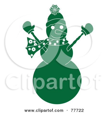 Royalty-Free (RF) Clipart Illustration of a Green Snowman Holding His Arms Up by Pams Clipart