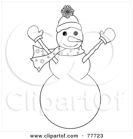 Royalty-Free (RF) Clipart Illustration of a Black And White Outline Of A Snowman Holding His Arms Up by Pams Clipart