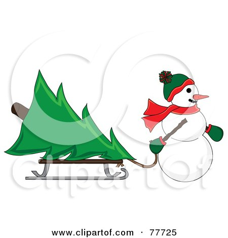 Royalty-Free (RF) Clipart Illustration of a Snowman Pulling A Christmas Tree On A Sled Through The Snow by Pams Clipart