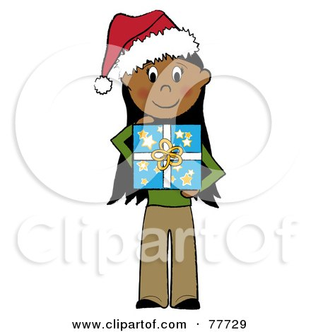 Royalty-Free (RF) Clipart Illustration of a Hispanic Stick Girl Wearing A Santa Hat And Holding A Christmas Gift by Pams Clipart