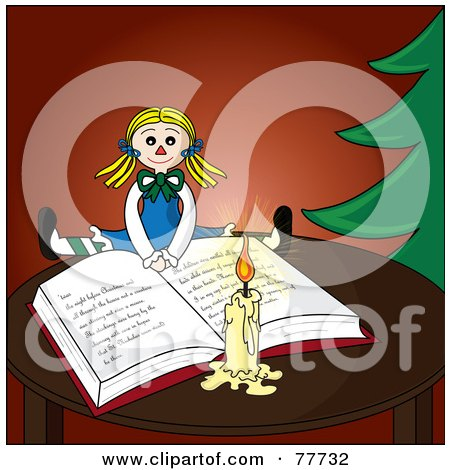 Royalty-Free (RF) Clipart Illustration of a Blond Doll Resting On An Open Christmas Book By A Candle And Christmas Tree by Pams Clipart