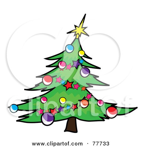 Royalty-Free (RF) Clipart Illustration of a Green Christmas Tree Curving To The Right, Decorated In Garlands And Baubles by Pams Clipart