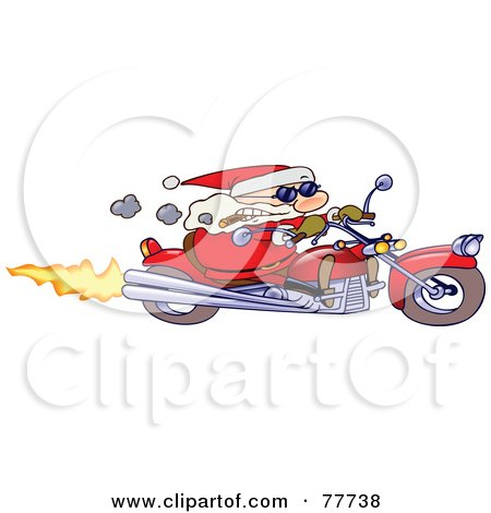 Tough Toon Santa Smoking A Cigar And Riding A Motorcycle Posters, Art Prints