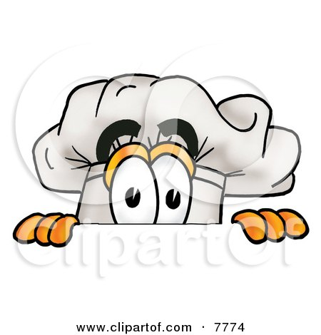 Clipart Picture of a Chefs Hat Mascot Cartoon Character Peeking Over a Surface by Toons4Biz