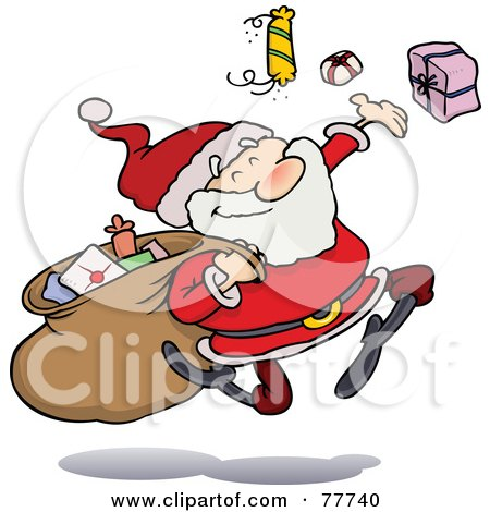 Royalty-Free (RF) Clipart Illustration of a Toon Santa Happily Tossing Gifts by gnurf