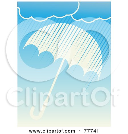 Royalty-Free (RF) Clipart Illustration of Rain Clouds Showering Down Over A White Umbrella On Blue by mheld