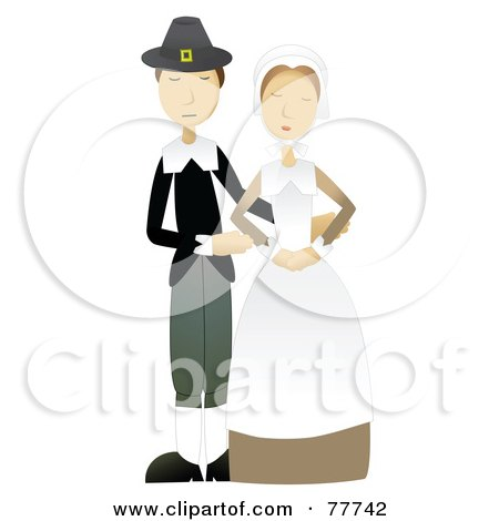 Royalty-Free (RF) Clipart Illustration of a Calm Pilgrim Couple Standing Together by mheld