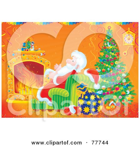 Royalty-Free (RF) Clipart Illustration of Santa Keeping Cozy And Warm By A Fire And Christmas Tree by Alex Bannykh