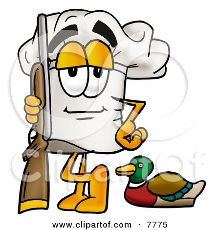Clipart Picture of a Chefs Hat Mascot Cartoon Character Duck Hunting, Standing With a Rifle and Duck by Toons4Biz