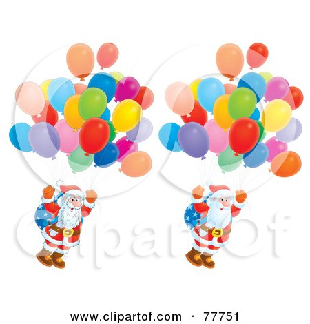 Royalty-Free (RF) Clipart Illustration of a Digital Collage Of Santas Floating With Balloons; Cartoon And Airbrushed by Alex Bannykh