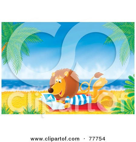 Royalty-Free (RF) Clipart Illustration of a Relaxed Lion Reading A Book On A Tropical Beach by Alex Bannykh