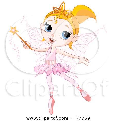 Pretty Blond Ballerina Fairy Girl Using A Magic Wand Posters, Art Prints