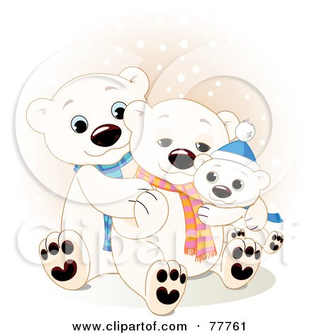 Adorable Polar Bear Family Cuddling In The Snow Posters, Art Prints