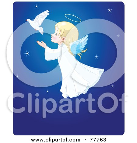 Royalty-Free (RF) Clipart Illustration of an Adorable Christmas Angel Girl Flying Behind A Dove In A Blue Starry Sky by Pushkin