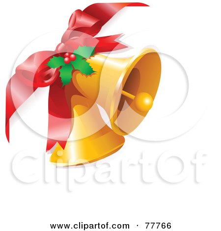 Royalty-Free (RF) Clipart Illustration of a Red Bow Attached To Two Golden Bells With Christmas Holly by Pushkin