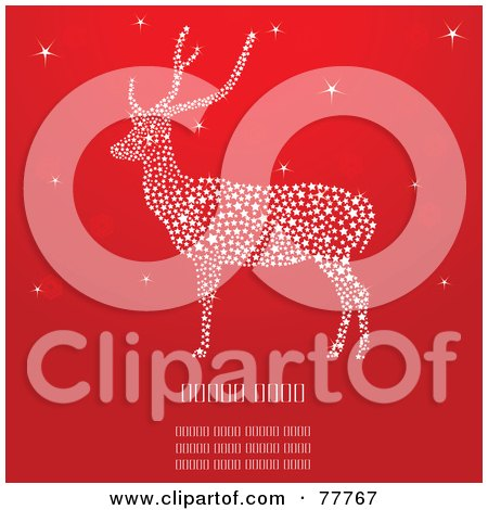 Royalty-Free (RF) Clipart Illustration of a Red Christmas Background With A Sparkly Reindeer by Pushkin