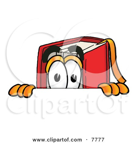 Clipart Picture of a Red Book Mascot Cartoon Character Peeking Over a Surface by Toons4Biz