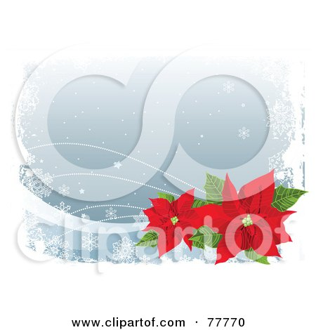 Royalty-Free (RF) Clipart Illustration of a Gray Winter Christmas Background With Snowflakes, White Grunge And Red Poinsettias by Pushkin