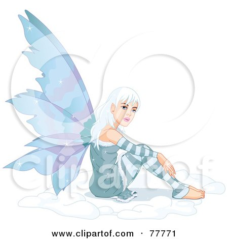 Pretty White Haired Winter Fairy Sitting In Snow Posters, Art Prints