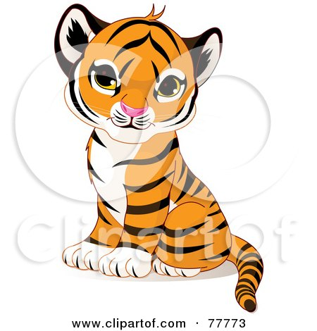 Royalty-Free (RF) Clipart Illustration of an Adorable Sitting Baby Tiger Cub by Pushkin
