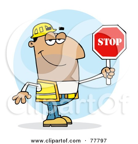 Royalty-Free (RF) Clipart Illustration of a Friendly Hispanic Traffic Director Man Holding A Stop Sign by Hit Toon