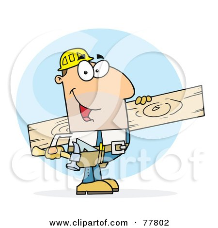 Royalty-Free (RF) Clipart Illustration of a Caucasian Worker Man A Wood Plank by Hit Toon