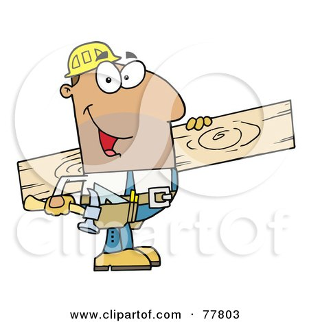 Royalty-Free (RF) Clipart Illustration of a Friendly Hispanic Construction Worker Carrying A Wood Board by Hit Toon