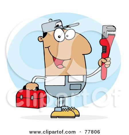 Royalty-Free (RF) Clipart Illustration of a Hispanic Plumber Man Carrying A Red Wrench And Tool Box by Hit Toon